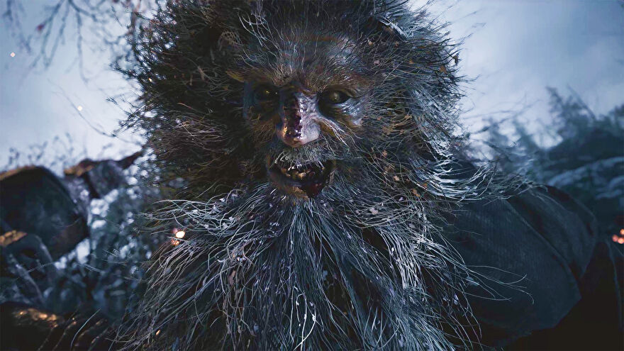 A scary lycan giant from Resident Evil Village looking directly in the eyes of protagonist Ethen Winters