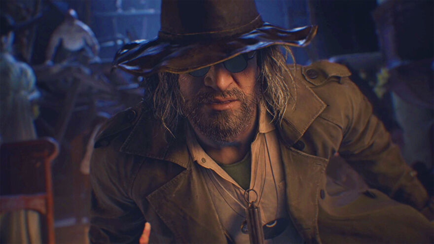 A close up of Karl Heisenberg from Resident Evil Village, with lycans in the background.