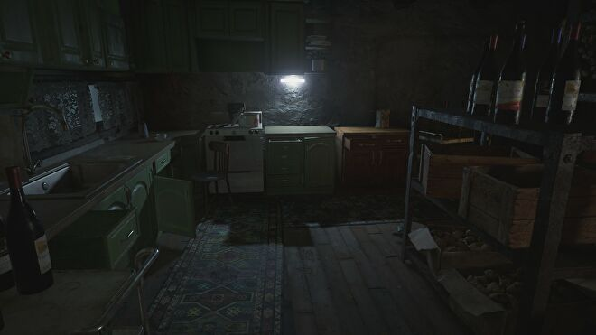 A house interior in Resident Evil Village with ray tracing switched off