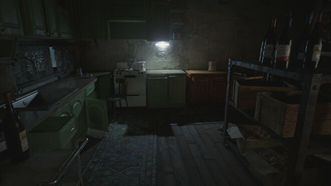 A house interior in Resident Evil Village with ray tracing switched on