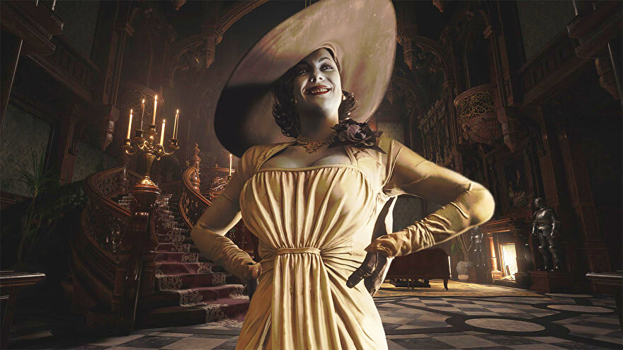 Lady Alcina Dimitrescu of Resident Evil Village standing in the entrance of her castle