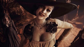A close-up of Lady Dimitrescu from Resident Evil Village