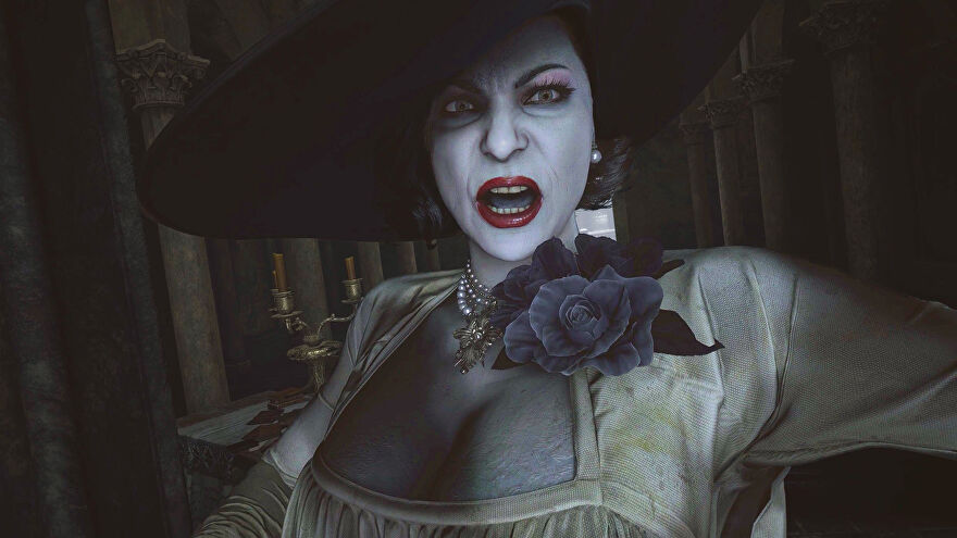 Lady Dimitrescu of Resident Evil Village looking very angry