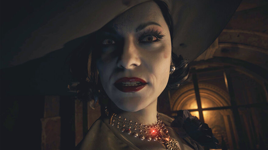 An extreme close-up of Lady Dimitrescu from Resident Evil Village