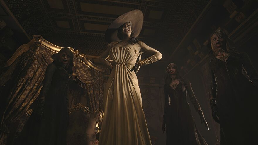 Lady Dimitrescu and her three daughters in a Resident Evil Village screenshot.