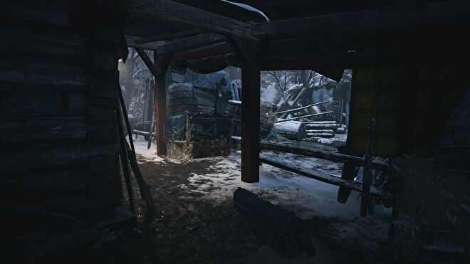 A screenshot of an outdoor corridor in Resident Evil Village with ray tracing switched off