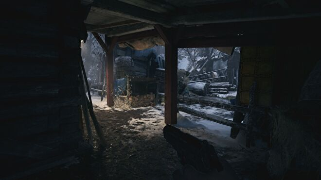 A screenshot of an outdoor corridor in Resident Evil Village with ray tracing switched on