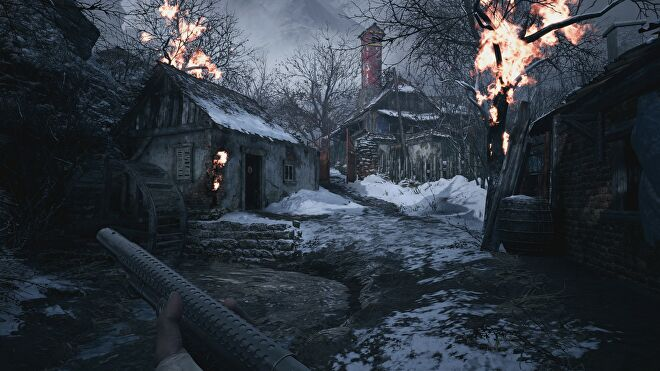 A burning house and tree near a river in Resident Evil Village with ray tracing switched off