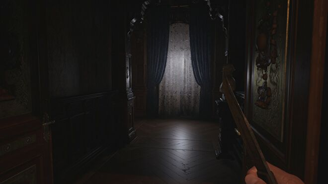 A window in Castle Dimitrescu in Resident Evil Village with ray tracing switched off