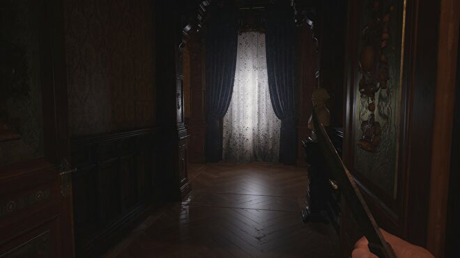 A window in Castle Dimitrescu in Resident Evil Village with ray tracing switched on