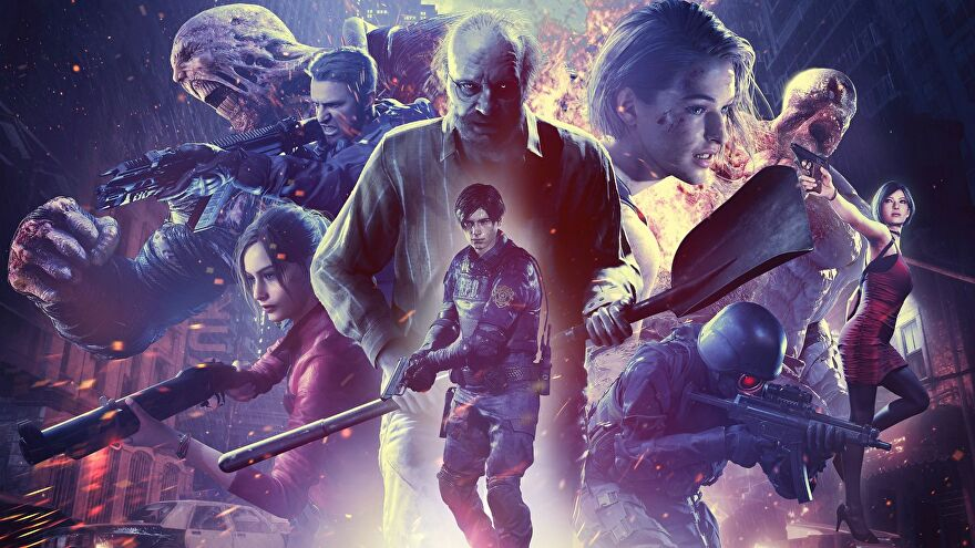Artwork showing all the main characters in Resident Evil Re:Verse