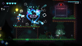 A screenshot of Revita, an action roguelike, showing the character surrounded by various blue glowing status effects and projectiles.