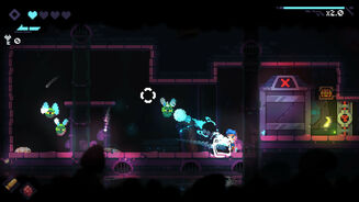 Revita - In a 2D platformer level the player character aims a reticle at three green, flying enemies.