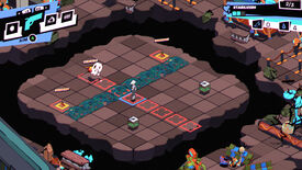 RFM - On a grid board, a player stands in an enemy's line of attack shown by red outlined grid spaces