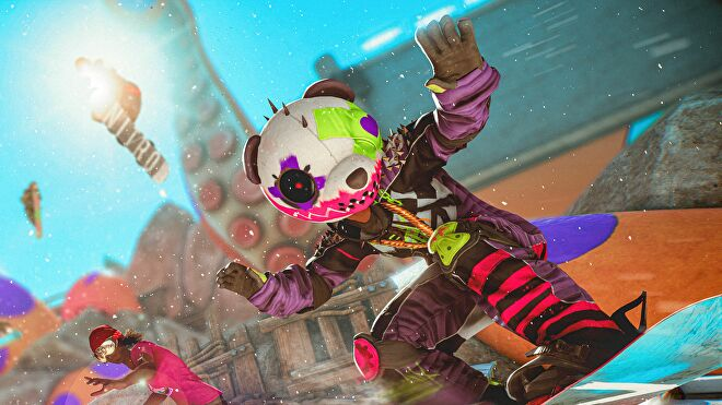 A close up of a snowboarder in Riders Republic. He is in the middle of a sick race, is wearing a purple jumpsuit enhanced with spikes and pink stripes, and has a giant panda head mask with further neon artistic flourishes to it.