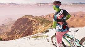 A Riders Republic rider on their bike, on top of a snowy mountain, looking out over a cliff at some sandy and dusty terrain