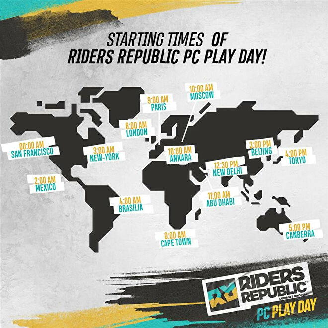 A map of when the Riders Republic PC Play Day starts around the world.