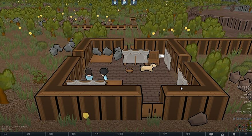 A screenshot of a room in RimWorld, rendered in 2.5D - a 3D camera looking into a world of angled 2D sprites.