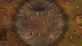 RimWorld - Ideology expansion - A group of colonists stand in a circle surrounded by skulls watching two other colonists fight each other.