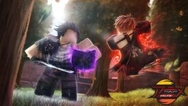 Two anime-stylised Roblox figures fighting in a forest, with purple and red magic glows surrounding them.