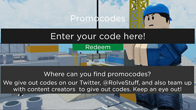 A screenshot from Arsenal, a Roblox shooter game, showing the screen where Arsenal codes can be redeemed.