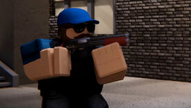 A screenshot from a trailer for Arsenal, a Roblox shooter game, showing a character holding a shotgun.