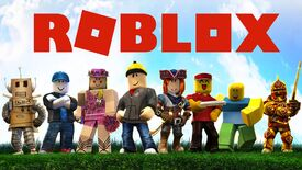 """Eight Roblox characters representing various game genres standing in a line. Text reads """"Roblox""""."""