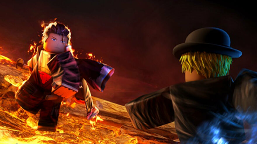 Promotional Roblox Blox Fruits art of two characters fighting while surrounded by magma.