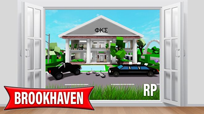 The exterior of a Greek House surrounded by luxury vehicles in Roblox - Brookhaven RP.