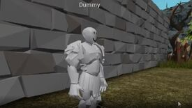"Roblox animation tutorial - A 3D modeled character without any textures stands in a neutral pose with the label ""Dummy""."