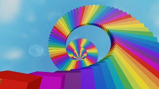 A brightly coloured rainbow staircase swirls up into the sky.