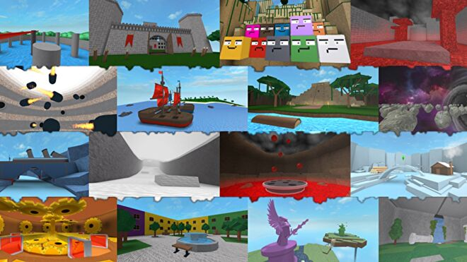 A panel of small images showcasing a variety of simple minigames.