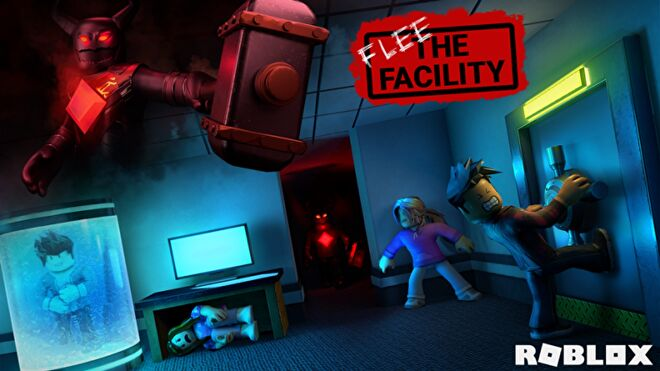 """Two monsters threatens several Roblox figures as they try to unlock a door in a spooky lab. Text reads """"Flee the Facility - Roblox""""."""