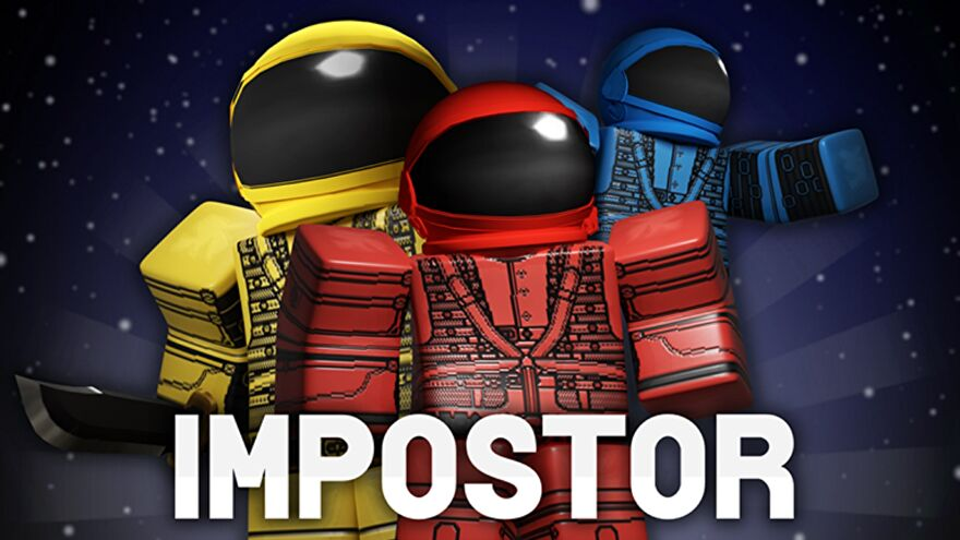 Three space-suited Roblox characters in yellow, red, and blue, standing against an outer-space background.