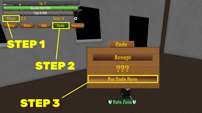 A screenshot from Roblox game King Legacy, or King Piece, highlighting the steps required to redeem codes.