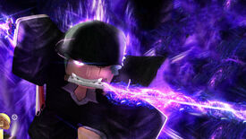 Promotional art for Roblox game King Legacy, or King Piece, showing a character running towards the screen holding a glowing purple weapon in their teeth.