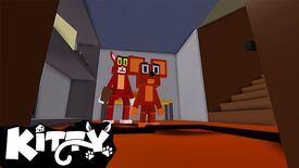 A Roblox-styled cat and mouse standing in the hallway of a house.