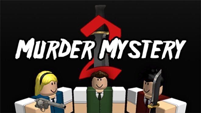"""Three Roblox figures, two armed with a gun and a knife. A stylised sword in the background intertwines with text reading """"Murder Mystery 2""""."""