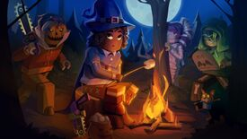 A stylised cartoon of a Roblox character dressed as a witch, roasting a marshmallow over a campfire in the woods, being menaced by a mummy, a hooded figure, and a chainsaw-wielding scarecrow.