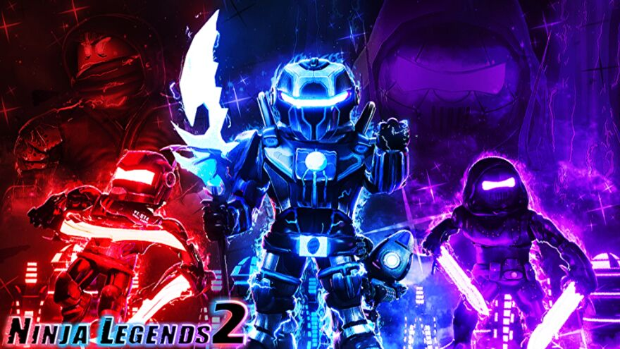 Three Roblox ninja mechs against a red, blue, and pinkish-purple background.