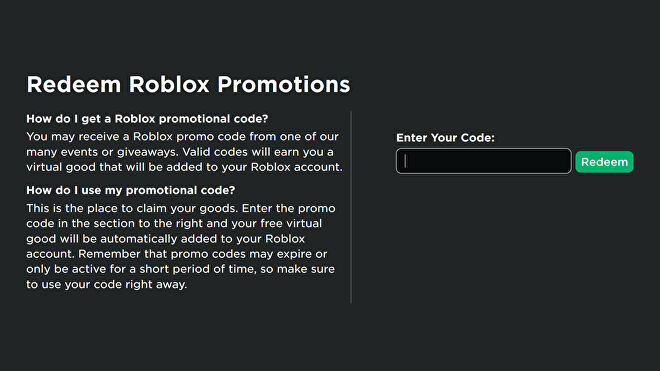 A screenshot of the Roblox promo code page, where you can enter codes to redeem them for free items.