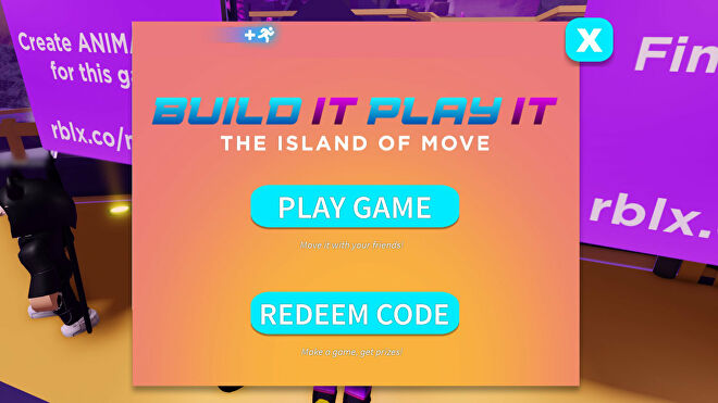 A screenshot of part of the process of redeeming a Roblox promo code in the Island Of Move.