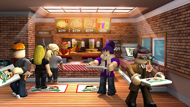 A line of customers collecting takeout from a Roblox pizza parlour. The kitchen and counter staff are in the background.