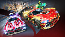 Promotional Rocket League art for Season 3 showcasing three cars next to each other speeding away from a goal.
