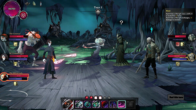 A combat screen from Rogue Lords. The White Lady is launching one of her spirit attacks on a bounty hunter.