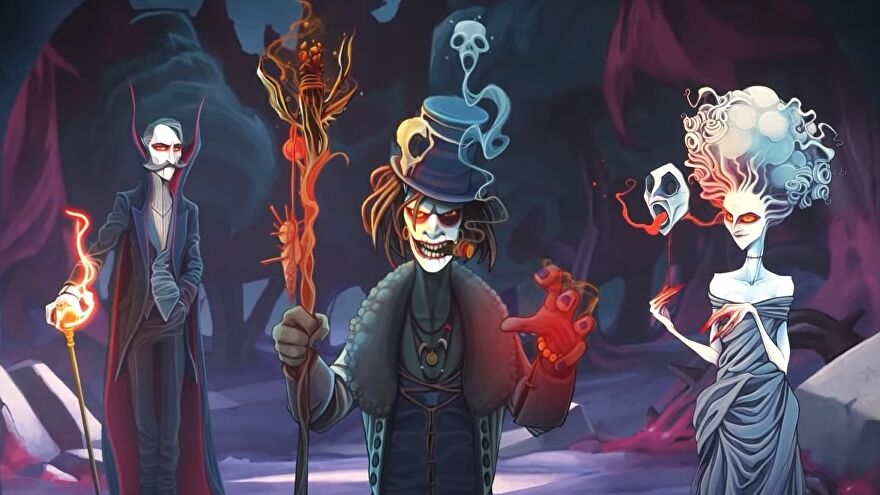 Spooky characters from Rogue Lords, Dracula a witch doctor and the White Lady.