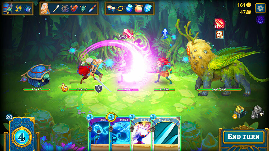 A screenshot of CCG Roguebook showing a 2D side-on perspective battle between a turtle lady, swordswoman, a big furry beast and two small goblins.