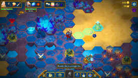 Roguebook - The player stands on an explorable grid of hex tiles, waiting to use an ability that will reveal the three tiles in a line in front of them.