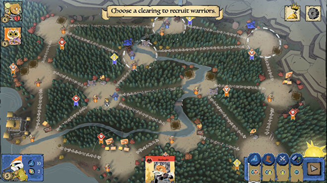A screenshot of the woodland map in Root, with a network of clearings where the player can recruit warriors