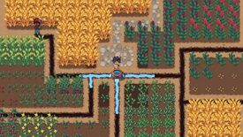 Roots Of Pacha - Two players stand in a field of crops. One is digging an irrigation trench while another fills it with water.